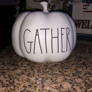 """NWT RAE DUNN """"Gather"""" Small Ceramic Pumpkin"""
